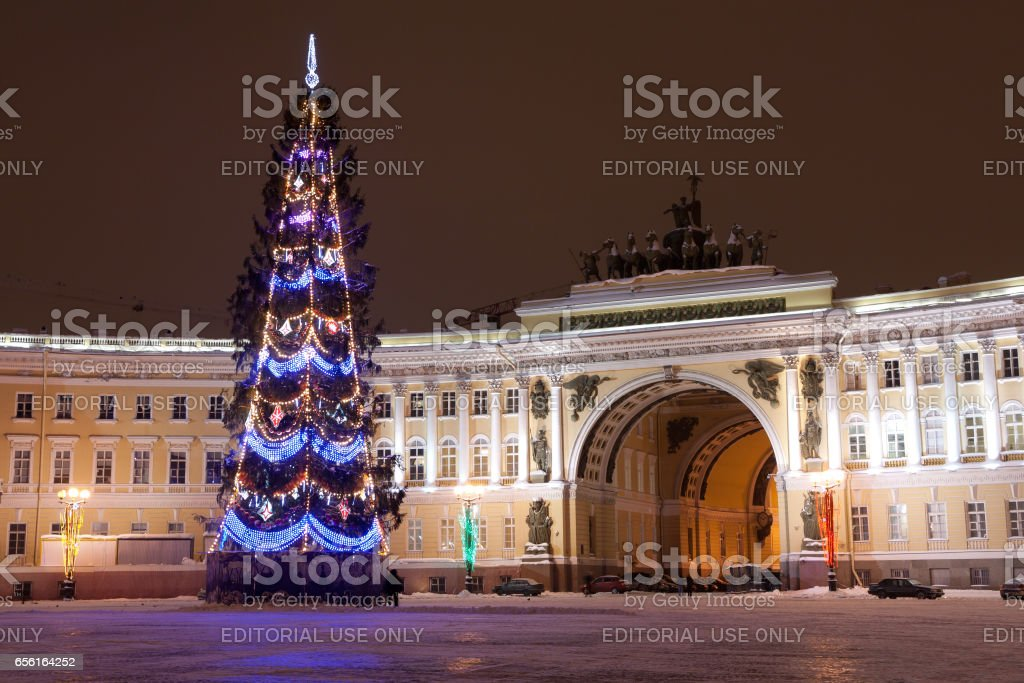 ST. PETERSBURG - DECEMBER 21: Christmas tree and building of General staff on Palace square, December 21, 2010, in town St. Petersburg, Russia. stock photo