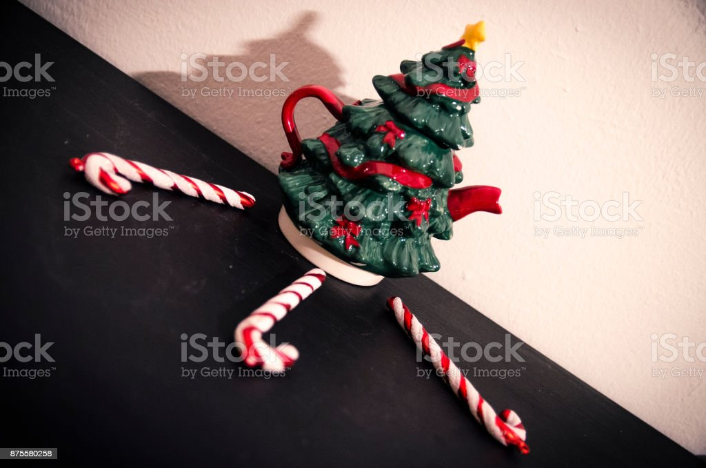 Christmas tree and candy cane stock photo