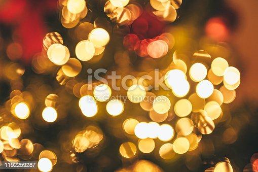 857847778 istock photo Christmas tree and Christmas lights 1192259287