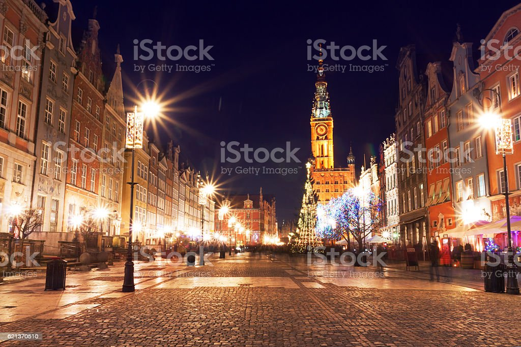 Christmas tree and decorations in old town of Gdansk, Poland stock photo