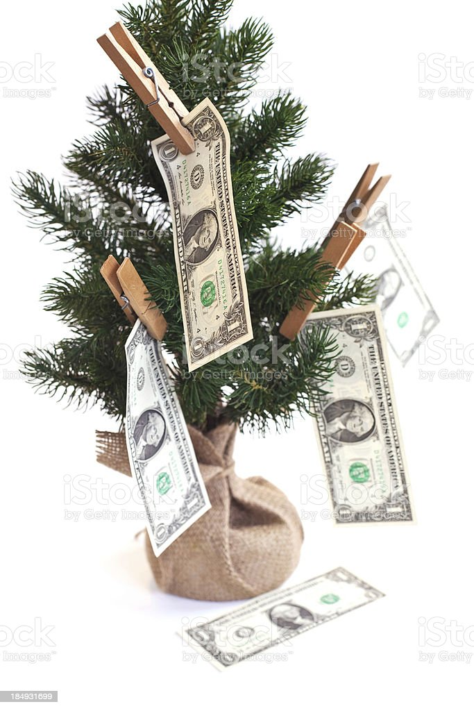 Christmas tree and dollars royalty-free stock photo