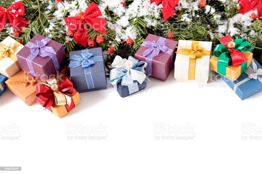 Christmas tree and gift boxes with copy space royalty-free stock photo