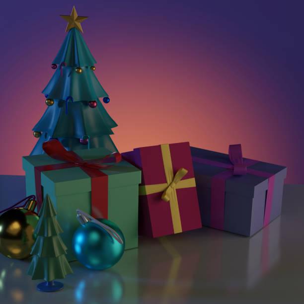 Weihnachtsbaum und Geschenk-Boxen mit glänzenden Ball und Reflexion auf dem Boden. – Foto