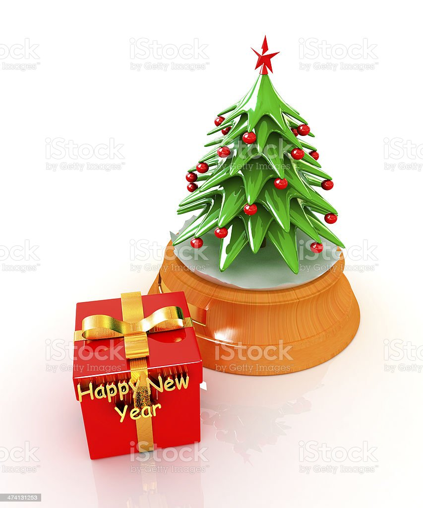 Christmas tree and gift royalty-free stock photo