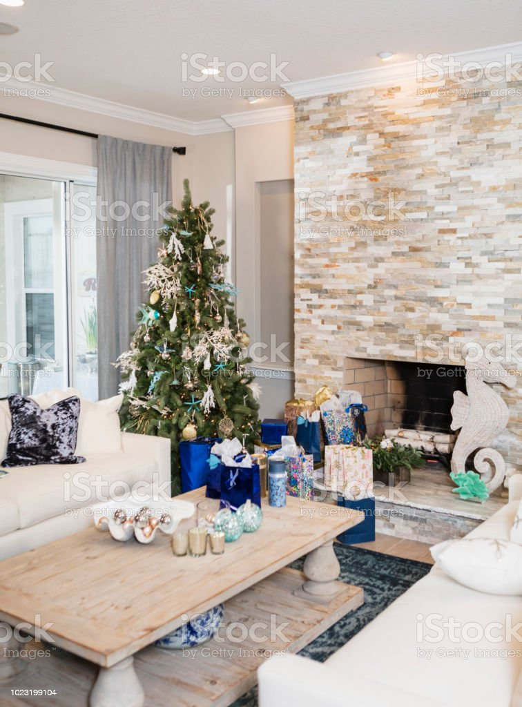 Christmas Tree And Gifts In Living Room Beach Theme Stock ...