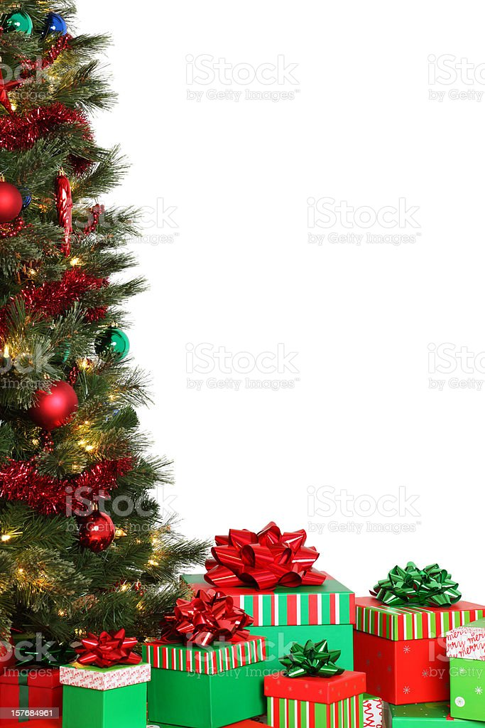 Christmas Tree and Gifts On White royalty-free stock photo