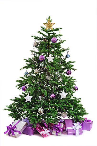 Christmas Tree And Gifts With Purple And Silver Color Scheme Stock
