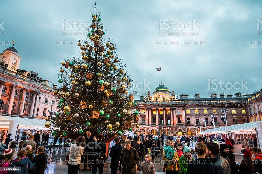 Christmas Tree and ice rink at Somerset House, London, UK stock photo