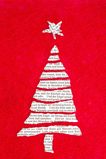christmas tree and nativity story from the bible stock photo