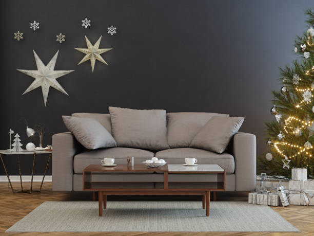 Christmas tree and presents in  living room stock photo
