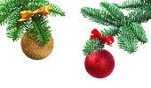 istock Christmas tree and red ball on white 1285802124