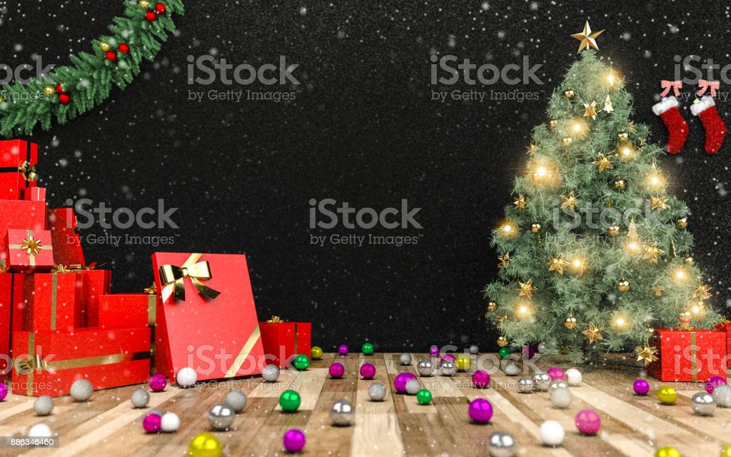 Christmas tree and red present stock photo