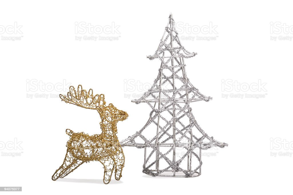 Christmas tree and reindeer royalty-free stock photo