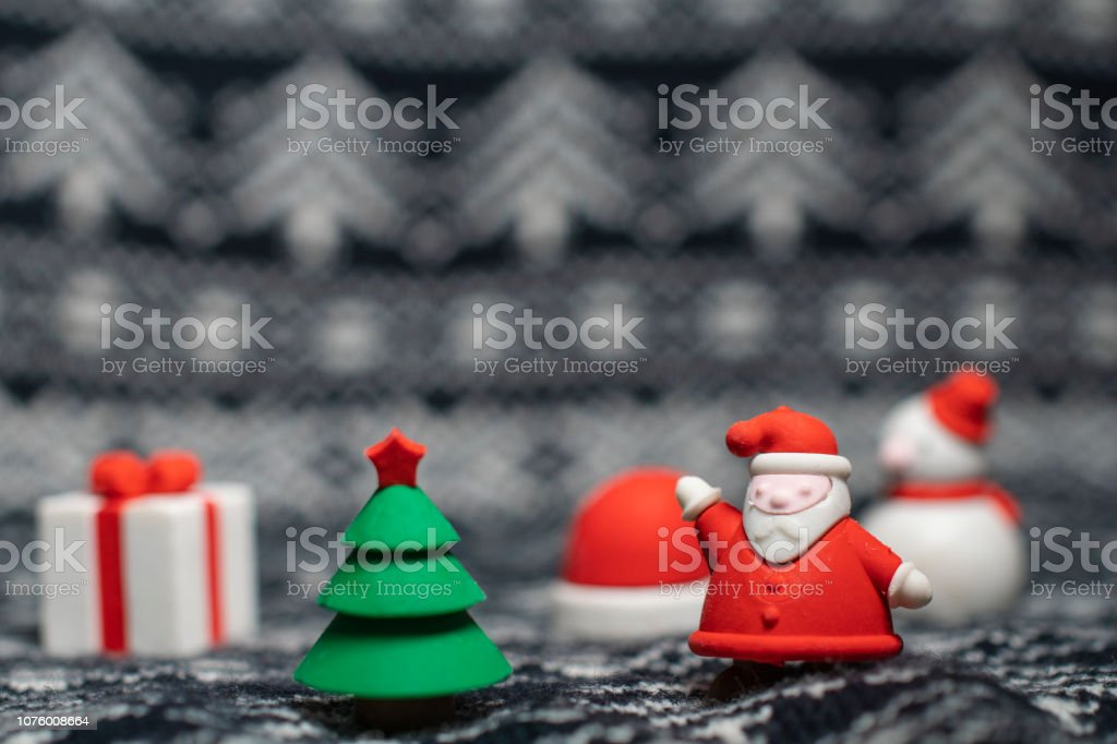 Christmas tree and Santa stock photo