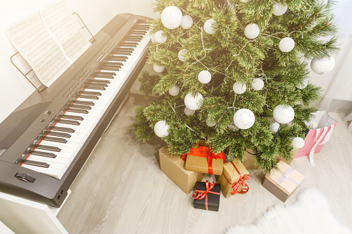 christmas tree and synthesizer