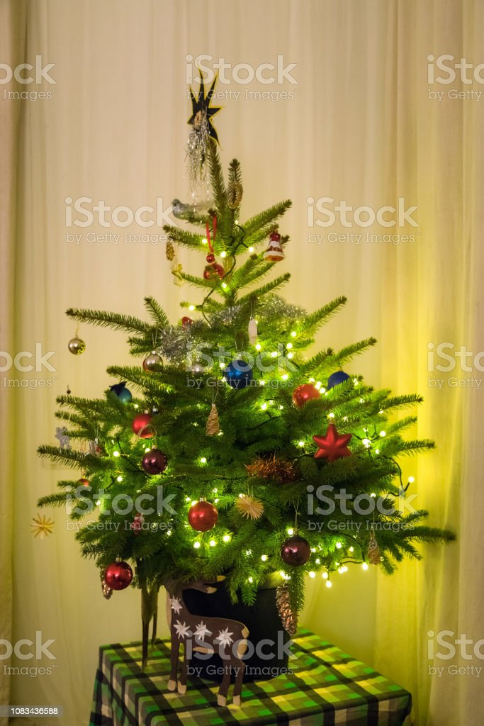 At Home Christmas Trees.Christmas Tree And With Festive Decorations At Home Natural