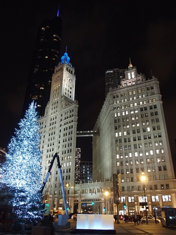 Christmas Tree Downtown Chicago.Christmas Tree At Chicago Downtown Stock Photo Download