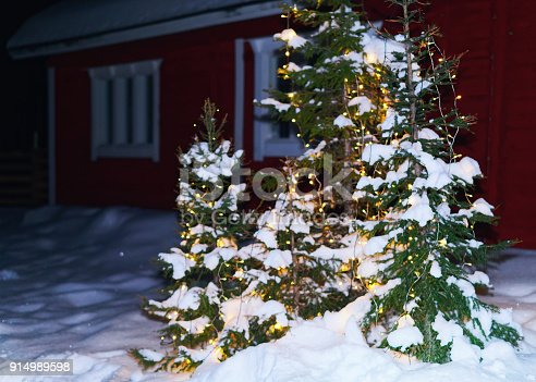istock Christmas tree at house in winter Lapland 914989598