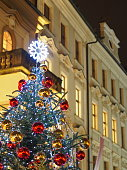 Christmas tree at night in Prague