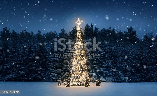 istock Christmas tree at night 629740172