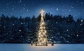 夜のクリスマスツリー