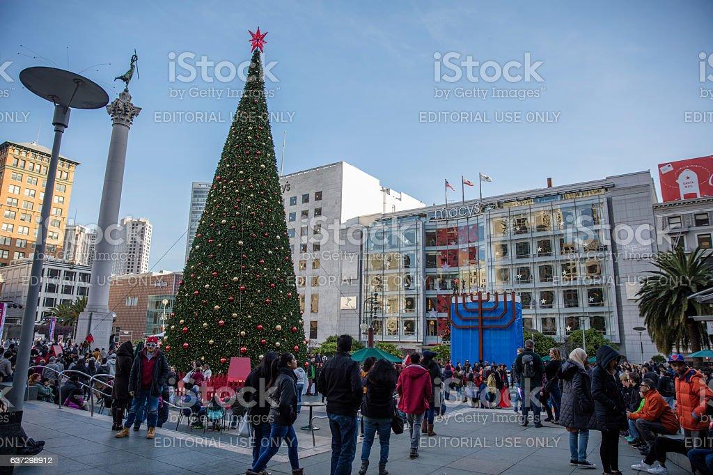 San Francisco, CA, USA - December 26, 2016: Christmas tree at San...