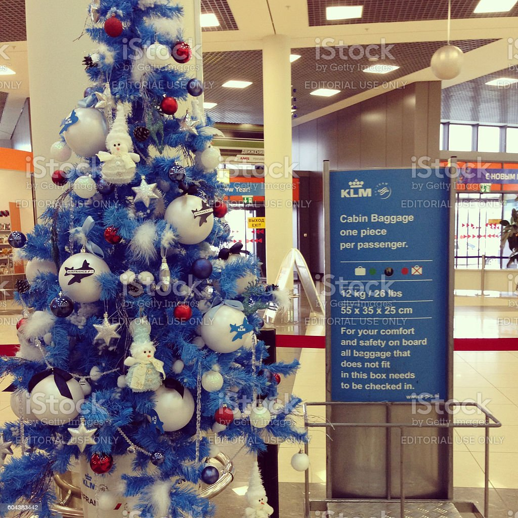 Christmas Tree at Sheremetyevo Airport, Moscow, Russia stock photo