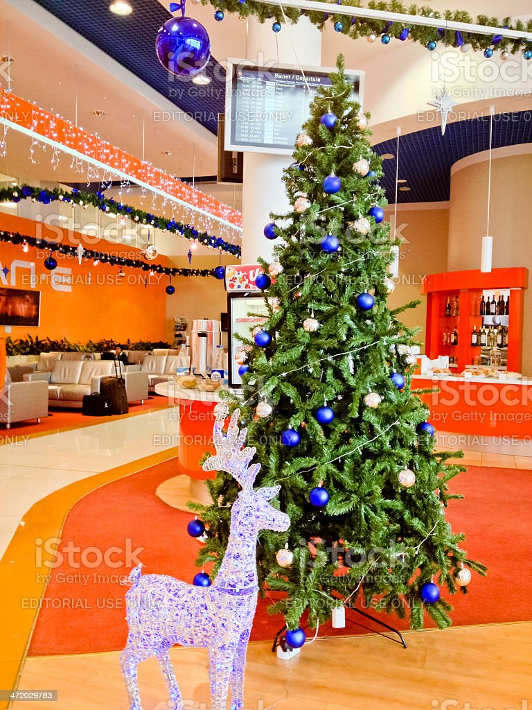 Christmas Tree at Sheremetyevo Airport, SVO, Moscow stock photo