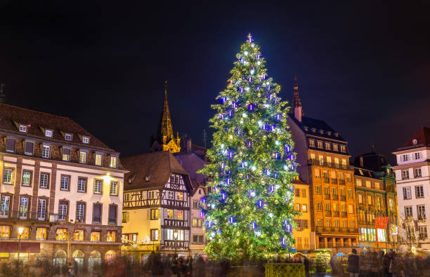 Christmas tree at the famous Market in Strasbourg, France Christmas tree at the famous Christmas Market in Strasbourg - Alsace, France strasbourg stock pictures, royalty-free photos & images