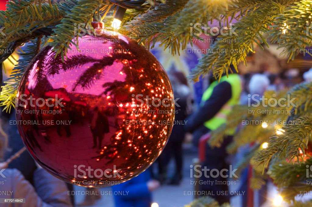 Christmas tree ball at Cologne Cathedral Christmas Market stock photo