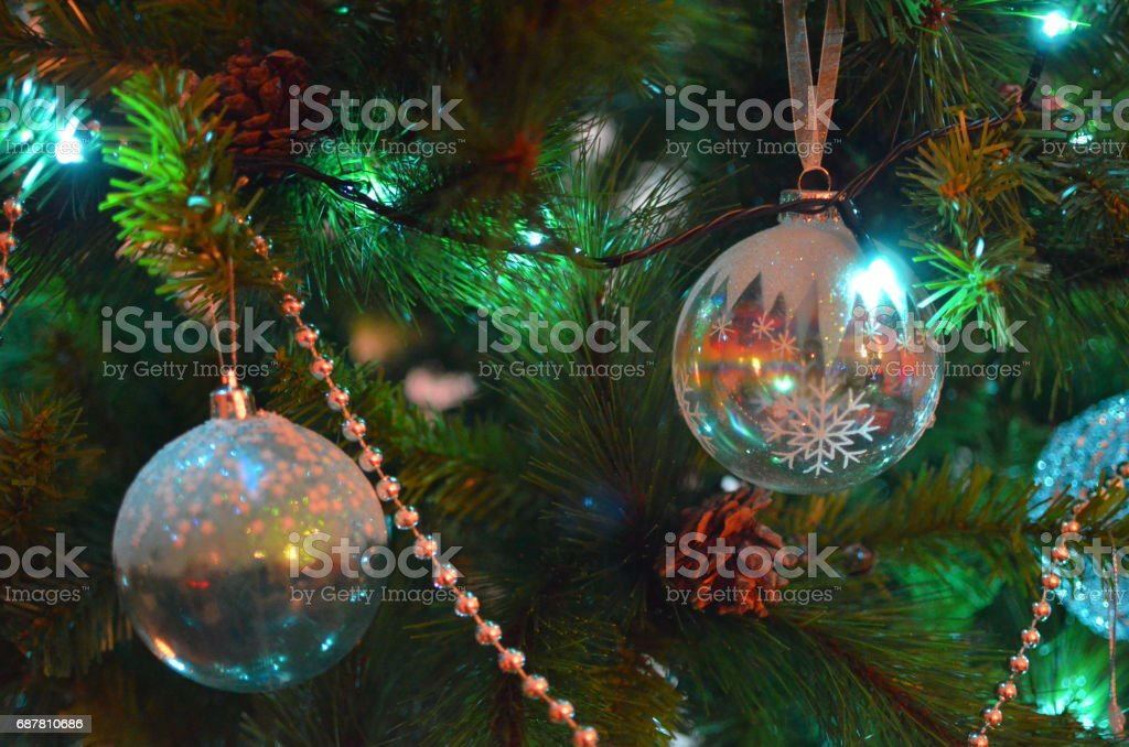 Christmas tree baubles stock photo