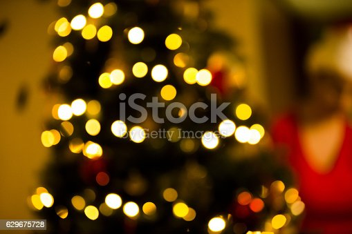 Defocused image of a Christmas Tree being set up by a person wearing a Santa's Hat