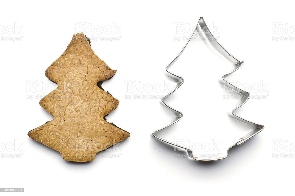 Christmas tree biscuit and tin form for baking stock photo