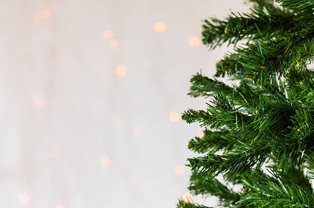 Christmas tree, bokeh background. Copy space. stock photo