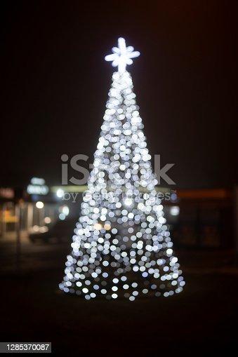 Christmas tree bokeh light background.