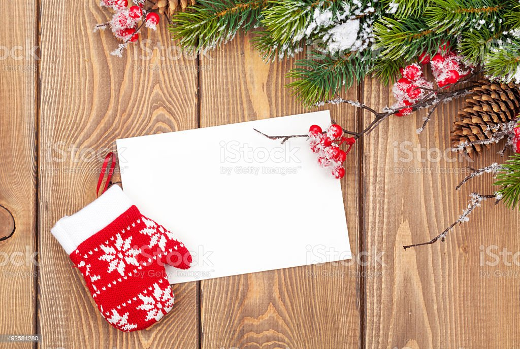 Christmas Tree Branch And Blank Greeting Card Stock Photo U0026 More Pictures  Of 2015 | IStock