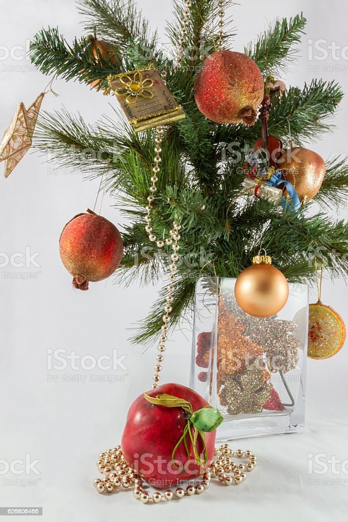 Christmas Tree Branch And Decoration In A Vase Stock Photo More