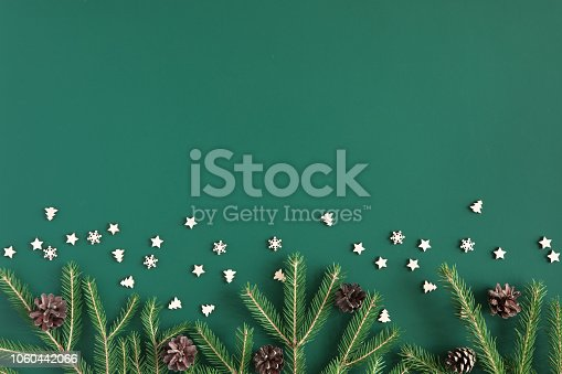 Christmas tree branch frame on green background with copy space