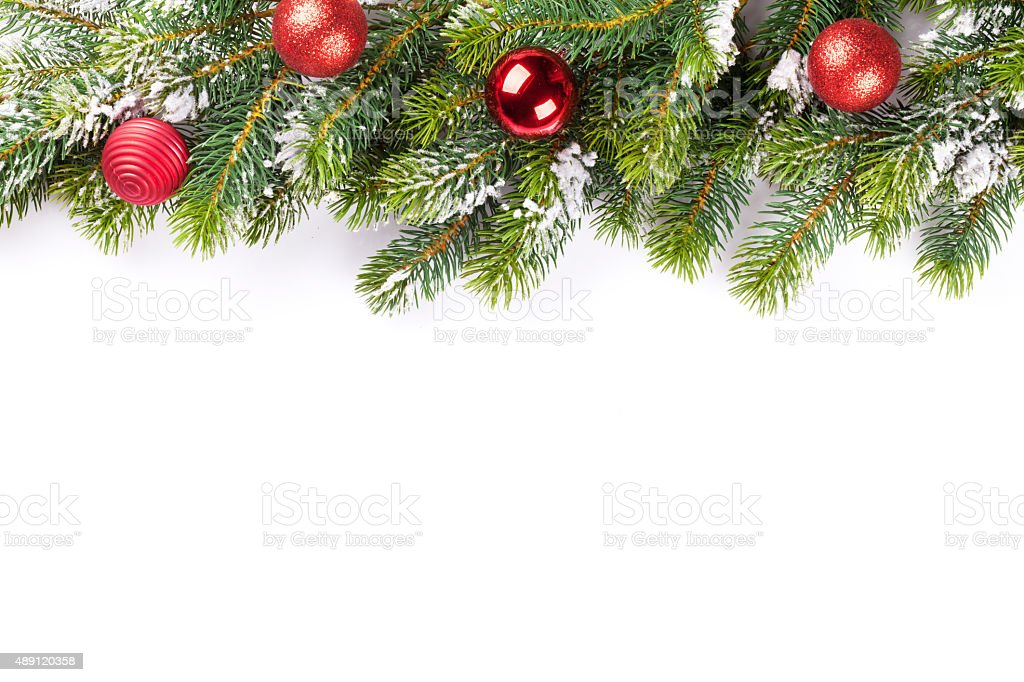 Christmas tree branch with baubles stock photo