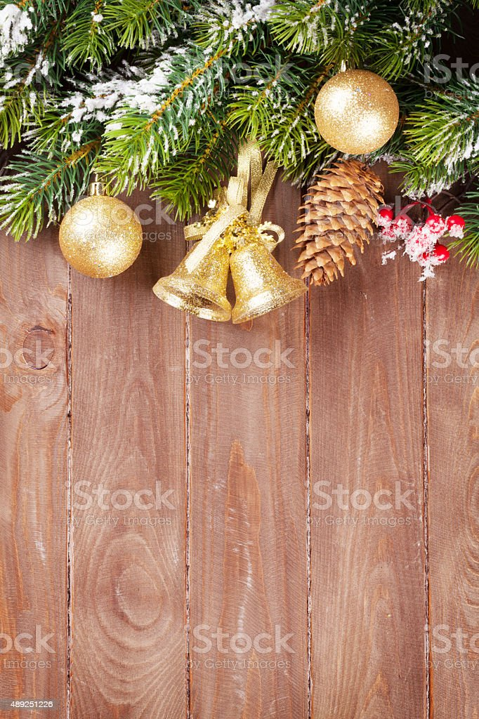 Christmas tree branch with decor stock photo