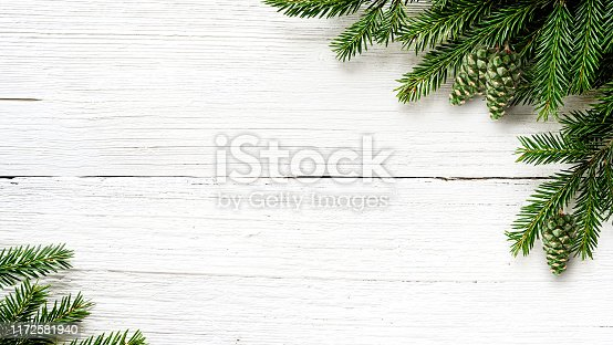 Christmas Fir tree branches and green cones on white wooden rustic background.