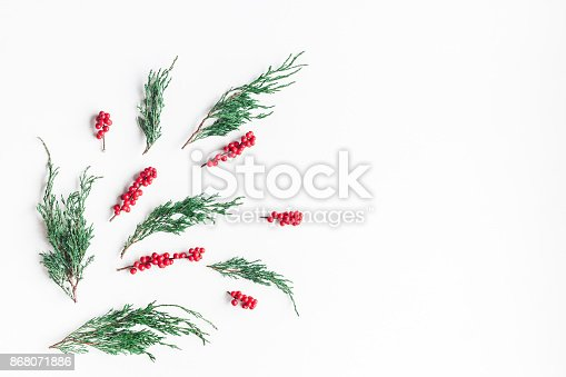 1074095098 istock photo Christmas tree branches and red berries. Flat lay, top view 868071886