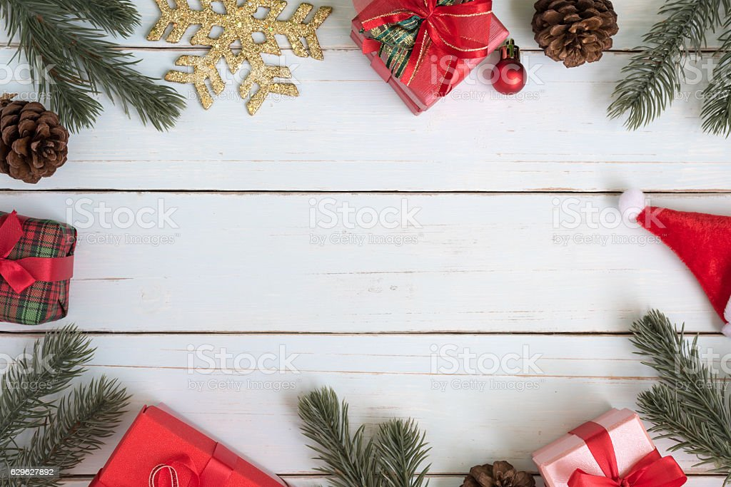 Christmas Tree Branches Border Decorations With Gift Boxes And Ormaments Royalty Free Stock Photo