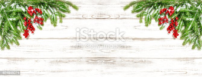 istock Christmas tree branches Festive decoration Holidays banner 624945074
