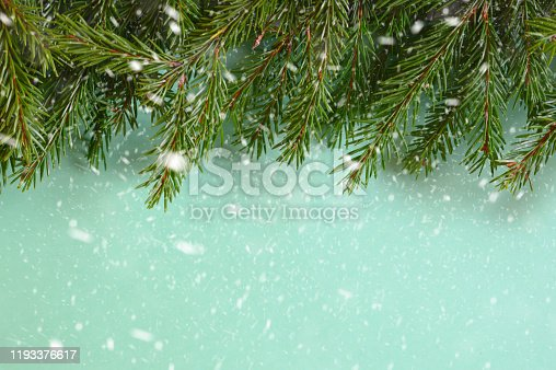 2020, 2021, advent, background, blank, branch, celebration, christmas, closeup, cold, concept, coniferous, copy space, day, decor, decoration, evergreen, falling, festive, fir, flat lay, frame, frozen, green, happy, holiday, isolated, light, merry, minimal, natural, nature, needles, new year, nobody, prickly, season, snow, snowflakes, snowy, space, surface, texture, top view, tree, twig, wall, weather, white, winter
