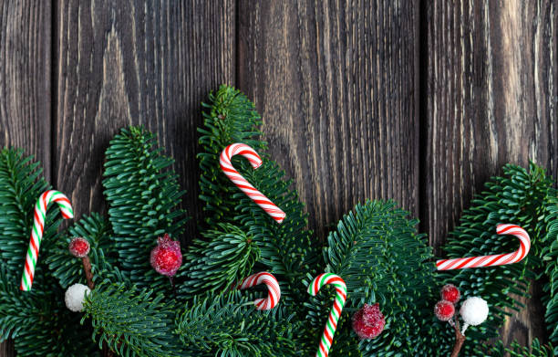 Christmas tree branches with cones. frozen berries and tiny candy canes. Rustic new year. Top view. stock photo