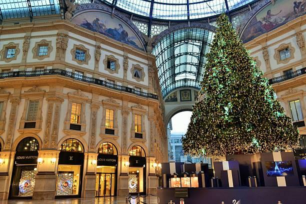 Christmas tree by Swarovski and Vittorio Emanuele Gallery. stock photo
