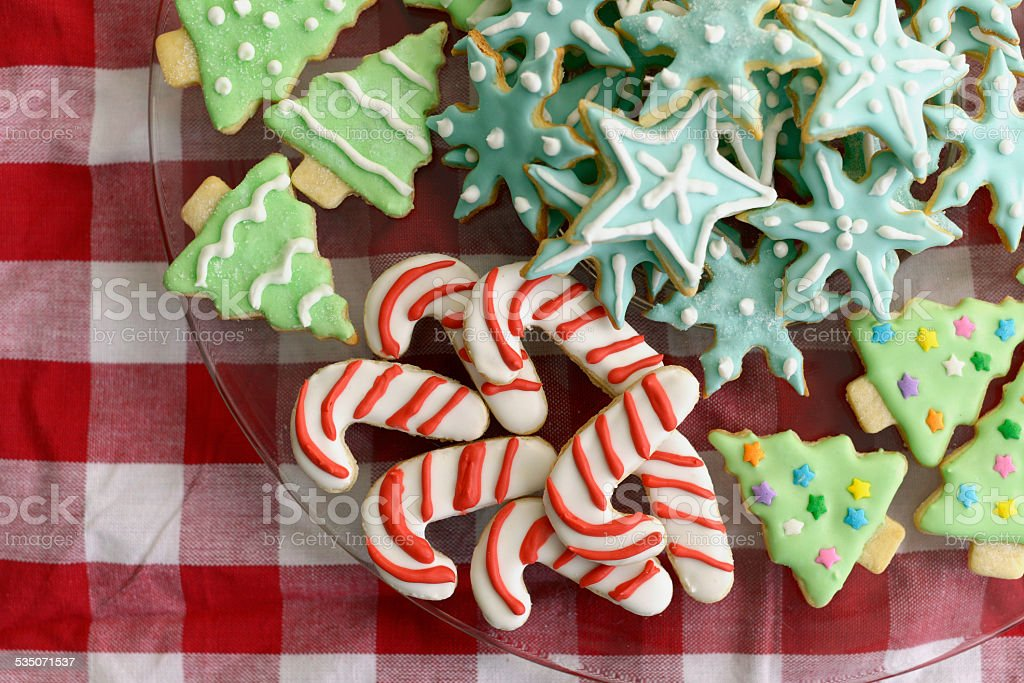 Christmas Tree, Candy Cane, and Snowflake Sugar Cookies stock photo