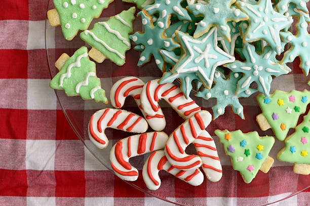 Christmas Tree, Candy Cane, and Snowflake Sugar Cookies Iced sugar cookies sugar cookie stock pictures, royalty-free photos & images