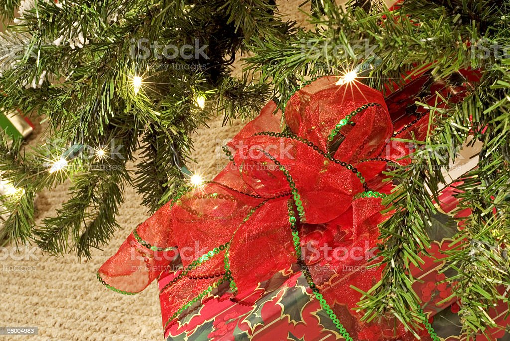 Christmas Tree Closeup with Gift royalty-free stock photo